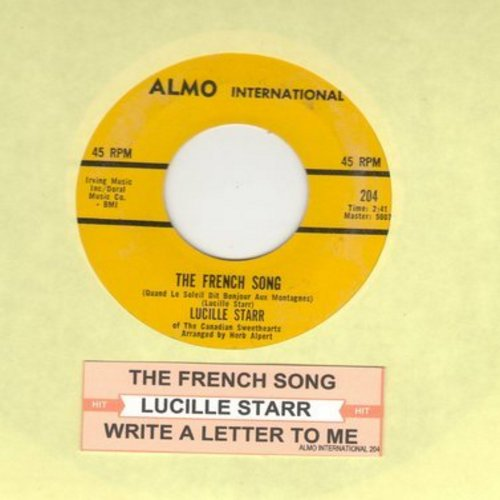 Starr, Lucille - The French Song/Sit Down And Write A Letter To Me (US Pressing, sung in French and English)(bb) - NM9/ - 45 rpm Records