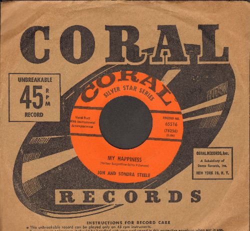 Steele, Jon & Sondra - My Happiness/Rememb'ring (with vintage Coral company sleeve) - EX8/ - 45 rpm Records