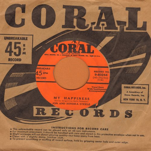 Steele, Jon & Sondra - My Happiness/I'd Love To Call You My Sweetheart (with vintage Coral company sleeve) - VG7/ - 45 rpm Records