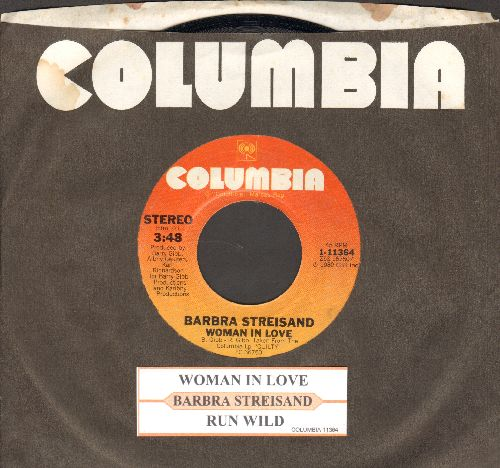 Streisand, Barbra - Woman In Love/Run Wild (with juke box label and company sleeve) - NM9/ - 45 rpm Records