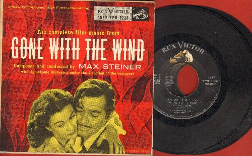 Steiner, Max - Gone With The Wind - Music from the Motion Picture Sound Track. V2 vinyl EP records, gate-fold cover, VERY NICE cover art of Clark Gable and Vivian Leigh suitable for framing!  - VG6/EX8 - 45 rpm Records