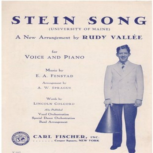 Vallee, Rudy - Stein Song (University Of Maine) - Vintage 1930 SHEET MUSIC newly arranged by Rudy Vallee for Voice and Piano - (This is SHEET MUSIC, not any other kind of media)  - NM9/ - Sheet Music