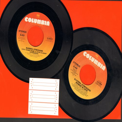 Streisand, Barbra - 2 for 1 Special: Love Theme From -A Star Is Born- (Evergreen)/Woman In Love  (2 vintage first issue 45rpm records for the price of 1!) - NM9/ - 45 rpm Records
