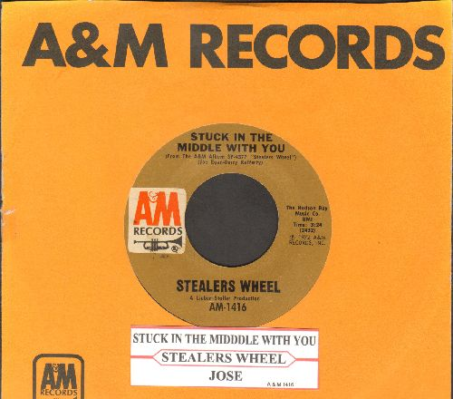 Stealers Wheel - Stuck In The Middle With You (featured in Netflix Series -Grace & Frankie-/Jose (with juke box label and A&M company sleeve) - EX8/ - 45 rpm Records