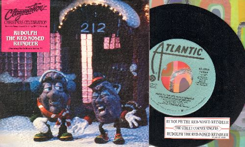 California Raisins, Street Corner Singers - Rudolph The Red Nosed Reindeer - RARE double-A-sided DJ advance pressing of California Raisins Novelty, with picture sleeve and juke box label, - NM9/EX8 - 45 rpm Records