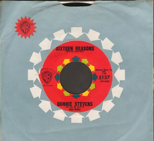 Stevens, Connie - Sixteen Reasons (Why I Love You)/Little Sister (with vintage Warner Brothers company sleeve) - EX8/ - 45 rpm Records