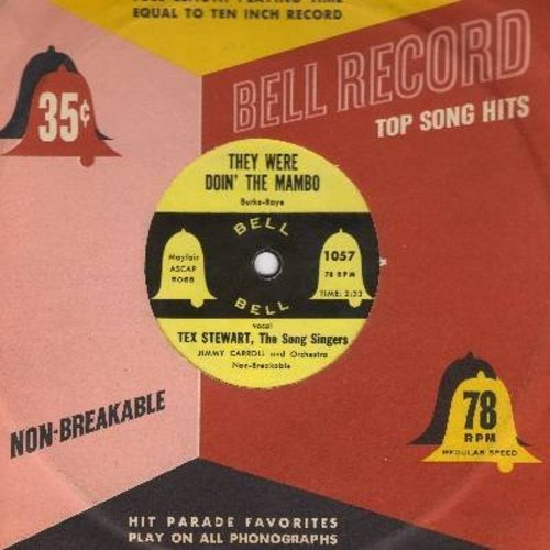 Stewart, Tex & The Song Singers - They Were Doin' The Mambo/Goodnight Sweetheart Goodnight (RARE 7 inch vinyl 78rpm record, small spindle hole, with vintage Bell company sleeve) - NM9/ - 45 rpm Records