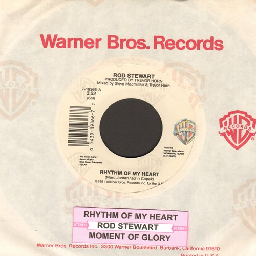 Stewart, Rod - Rhythm Of My Heart (in the style of Scottish folk-songs, NICE!)/Moment Of Glory (with juke box label) - NM9/ - 45 rpm Records