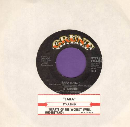 Starship - Sara/Hearts Of The World (with juke box label) - EX8/ - 45 rpm Records