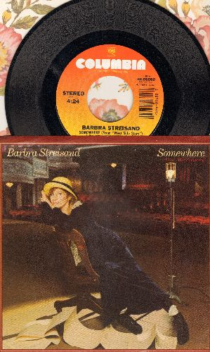 Streisand, Barbra - Somewhere (from -West Side Story-)/Not While I'm Around (from -Sweeney Todd-) (with picture sleeve) - NM9/NM9 - 45 rpm Records