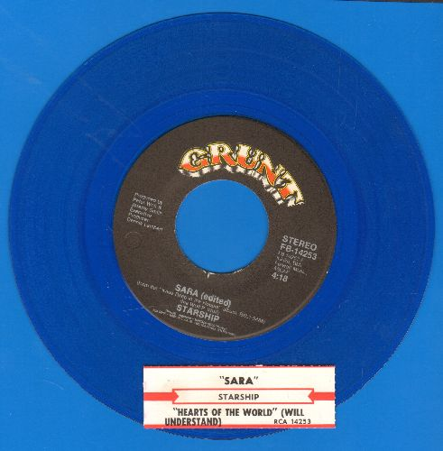 Starship - Sara/Hearts Of The World (Blue Vinyl pressing with juke box label) - EX8/ - 45 rpm Records