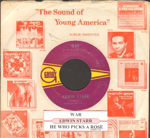 Starr, Edwin - War/He Who Picks A Rose (with juke box label and Motown company sleeve)  - EX8/ - 45 rpm Records