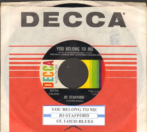 Stafford, Jo - You Belong To Me/St. Louis Blues (with juke box label and  Decca company sleeve) - NM9/ - 45 rpm Records