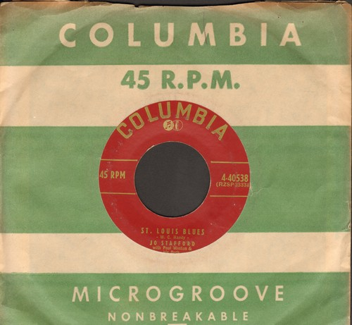 Stafford, Jo - St. Louis Blues/Ain'tcha Comin' Out T-Tonight (with vintage Columbia company sleeve) - VG7/ - 45 rpm Records