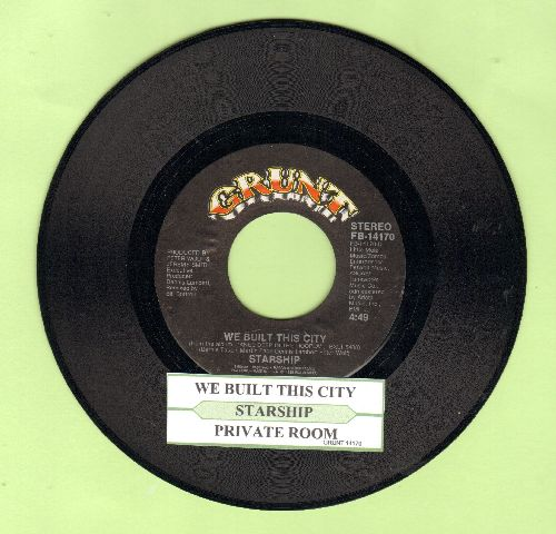 Starship - We Built This City (On Rock & Roll)/Private Room (Instrumental) (with juke box label) - NM9/ - 45 rpm Records