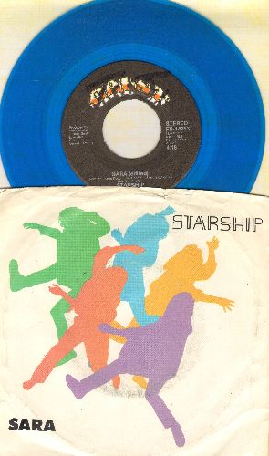 Starship - Sara/Hearts Of The World (RARE blue vinyl pressing with picture sleeve, minor wol) - NM9/VG7 - 45 rpm Records