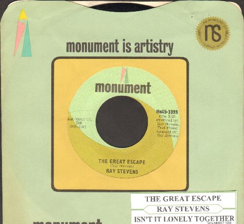 Stevens, Ray - The Great Escape/Isn't It Lonely Together (with juke box label and Monument company sleeve) - NM9/ - 45 rpm Records