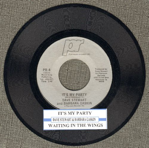 Stewart, Dave & Barbara Baskin - It's My Party (Althernative Rock version of Lesey Gore Teen Idol Favorite!)/Waiting In The Wings (with juke box label) - NM9/ - 45 rpm Records