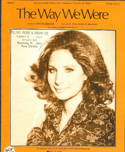 Streisand, Barbra - The Way We Were - Vintage SHEET MUSIC for the Academy Award Winning song. NICE cover portrait of Barbra Streisand! (woc) - EX8/ - 45 rpm Records