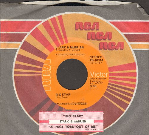 Stark & McBride - Big Star/A Page Torn Out Of Me (with juke box label and RCA company sleeve) - NM9/ - 45 rpm Records