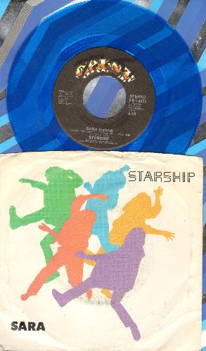 Starship - Sara/Hearts Of The World (Blue Vinyl pressing with picture sleeve) - NM9/VG7 - 45 rpm Records