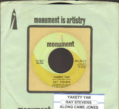 Stevens, Ray - Yakety Yak/Along Came Jones (with vintage Monument company sleeve and juke box label) - EX8/ - 45 rpm Records