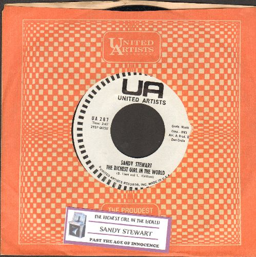 Stewart, Sandy - The Richest Girl In The World/Past The Age Of Innocence (DJ advance pressing with juke box label and United Artists company sleeve) - NM9/ - 45 rpm Records