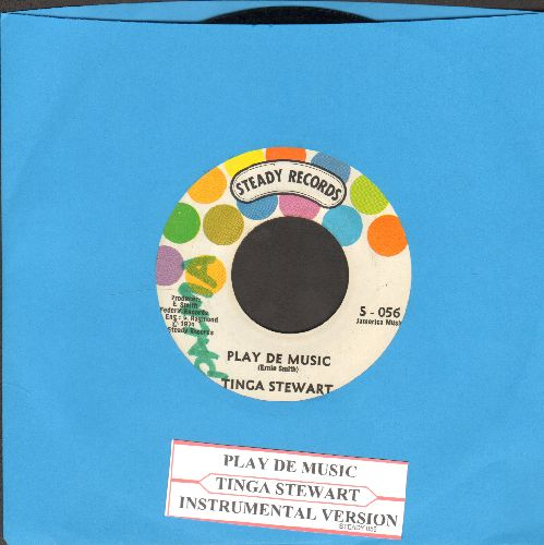 Stewart, Tinga - Play De Music/Instrumental Version (with juke box label)(minor wol) - EX8/ - 45 rpm Records