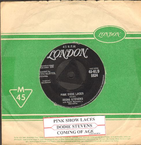 Stevens, Dodie - Pink Shoe Laces/Coming Of Age (The ULTIMATE 50s Girl-Sound, British Pressing with London company sleeve, removable spindle-adaptor) - EX8/ - 45 rpm Records