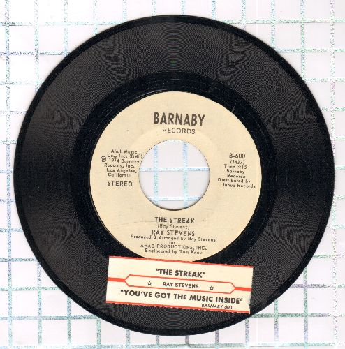 Stevens, Ray - The Streak/You've Got The Music Inside (with juke box label and Barnaby company sleeve) - EX8/ - 45 rpm Records