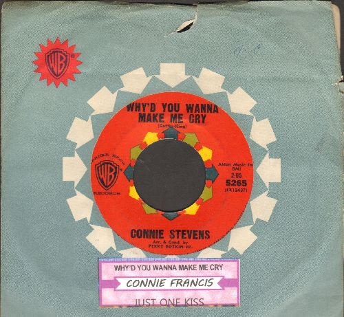 Stevens, Connie - Why'd You Wanna Make Me Cry/Just One Kiss (with RARE vintage Warner Brothers company sleeve and juke box label) - NM9/ - 45 rpm Records