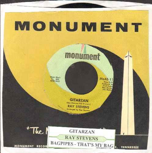 Stevens, Ray - Gitarzan/Bagpipes-That's My Bag (with juke box label and Monument company sleeve) - NM9/ - 45 rpm Records