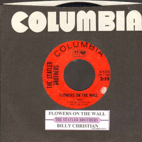Statler Brothers - Flowers On The Wall/Billy Christian (with juke box label) - EX8/ - 45 rpm Records