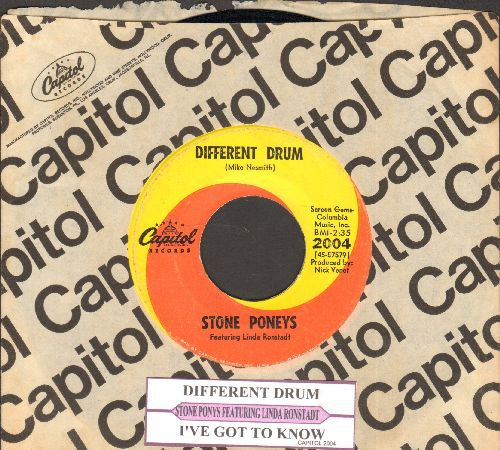 Ronstadt, Linda - Different Drum/I've Got To Know (billed as Stone Poneys Featuring Linda Ronstadt) (with juke box label and Capitol company sleeve) - NM9/ - 45 rpm Records