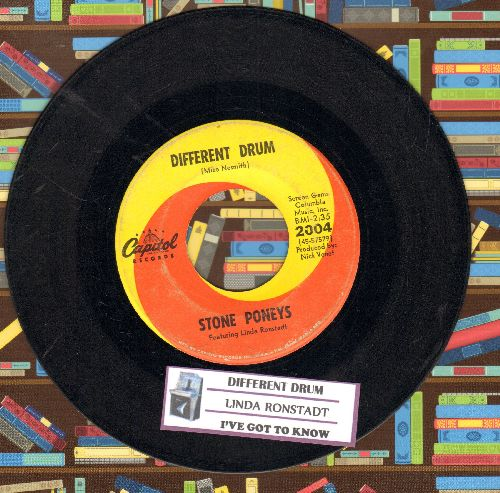 Ronstadt, Linda - Different Drum/I've Got To Know (billed as Stone Poneys Featuring Linda Ronstadt) (with juke box label) - VG7/ - 45 rpm Records