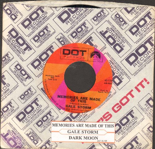 Storm, Gale - Memories Are Made Of This/Dark Moon (double-hit re-isuse with juke box label and Dot company sleeve) - NM9/ - 45 rpm Records