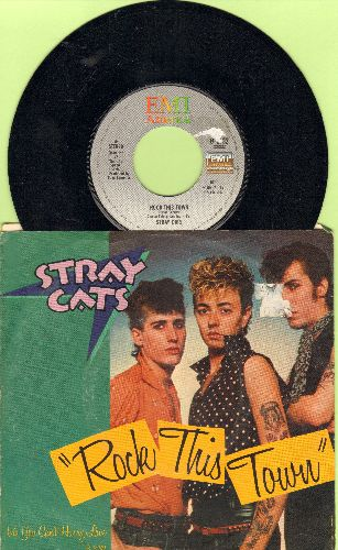 Stray Cats - Rock This Town/You Can't Hurry Love (with picture sleeve) - EX8/VG7 - 45 rpm Records
