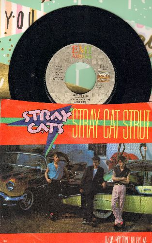 Stray Cats - Stray Cat Strut/You Don't Believe Me (with picture sleeve) - NM9/EX8 - 45 rpm Records