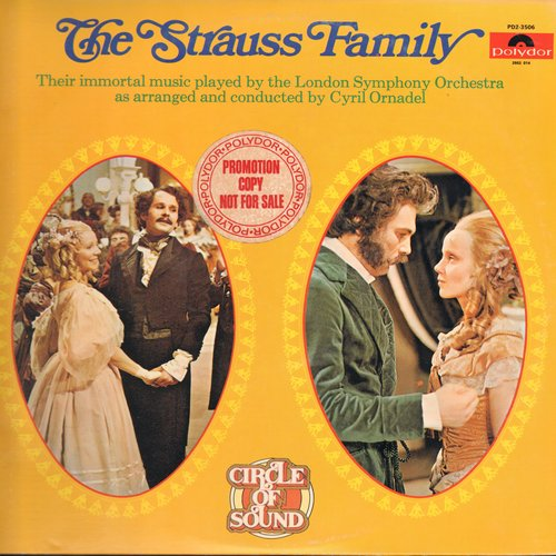 London Symphony Orchestra, Cyral Ornadel conducting - The Strauss Family - Radetzky March, Einzug Gallop, Die Fledermaus, Zigeunerbaron, Tales of the Vienna Woods (2 vinyl STEREO LP record set, gate-fold cover, DJ advnace pressing) - NM9/NM9 - LP Records