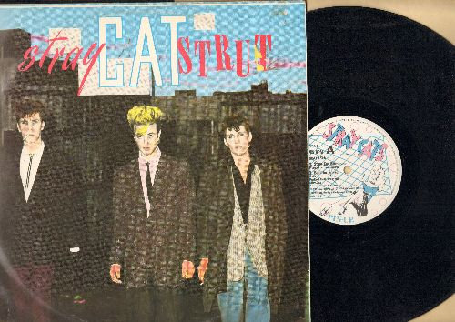 Stray Cats - Stray Cat Strut/Built For Speed/Sweet Love On My Mind/Drink That Bottle Down (12 inch vinyl Maxi Sinngle with picture cover, British Pressing) - EX8/VG7 - Maxi Singles