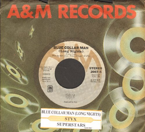 Styx - Blue Collar Man (Long Nights)/Superstars (with juke box label and company sleeve)) - NM9/ - 45 rpm Records