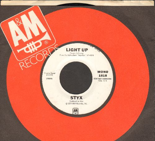 Styx - Light Up (double-A-sided DJ advance pressing with A&M company sleeve) - NM9/ - 45 rpm Records