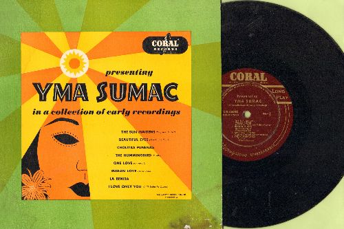 Sumak, Yma - Presenting Yma Sumac: The Sun Maiden, Beautiful Eyes, Cholitas Punenas, Hummingbird, One Love, Indian Love, La Benita, I Love Only You (10 inch LP with picture cover) - EX8/EX8 - LP Records