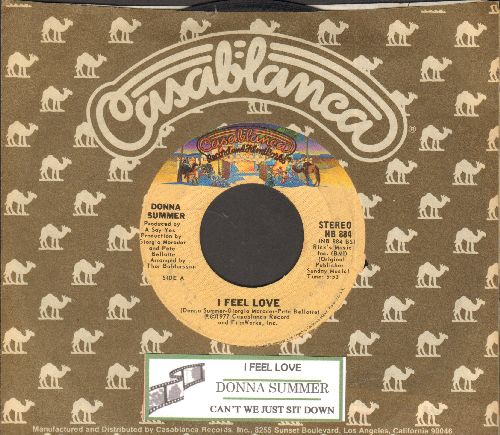 Summer, Donna - I Feel Love/Can't We Just Sit Down (And Talk It Over)(with Casablanca company sleeve and juke box label) - VG7/ - 45 rpm Records