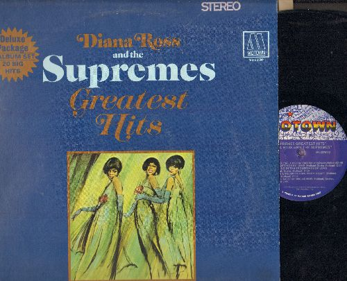 Supremes - Greatest Hits: (Double vinyl STEREO LP record, gate-fold cover, second pressing): Baby Love, Stop! In The name Of Love, You Keep Me Hangin' On, You Can't Hurry Love, The Happening, Where Did Our Love Go - NM9/EX8 - LP Records
