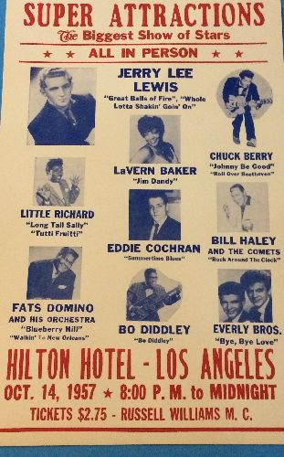 Poster - Repro Heavy cardboard Ad Poster (14 x 22) of Super Attractios Oct. 14, 1957 All Star Show at Los Angeles Hilton Hotel. NICE art work featuring Rock & Roll Super Stars! GREAT for a 50s Theme Party, suitable for framing! - NM9/ - Poster