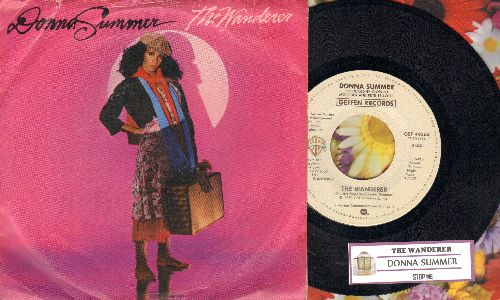 Summer, Donna - The Wanderer/Stop Me (with juke box label and picture sleeve) - NM9/VG7 - 45 rpm Records
