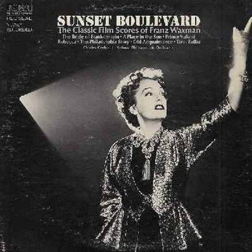 Waxman, Franz - Sunset Boulevard and other Classic Film Scores of Franz Waxman: The Bride Of Frankenstein, Rebecca, A Place In The Sun, The Philadelphia Story (Vinyl LP record, 1974 issue, EXCELLENT cover art of climactic scene from -Sunset Boulevard-!) -