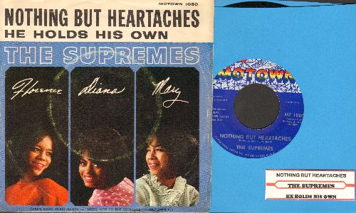 Supremes - Nothing But Heartaches/He Holds His Own (with juke box label and picture sleeve) - EX8/VG7 - 45 rpm Records