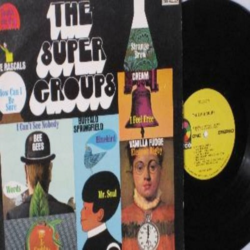 Rascals, Bee Gees, Cream, Vanilla Fudge, Iron Butterfly, Buffalo Springfield - The Super Groups: In-A-Godda-Da-Vida, Eleanor Rigby, Words, How Can I Be Sure, I Feel Free (vinyl STEREO LP record) - NM9/EX8 - LP Records